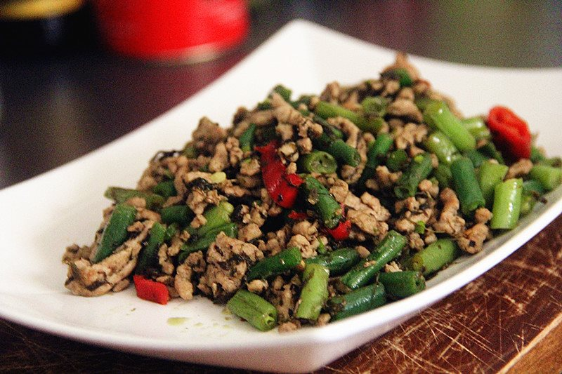 delicious plate of stir-fry kale with pork mince