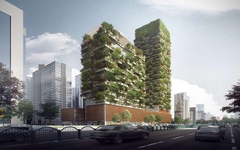 design for forest towers in nanjing