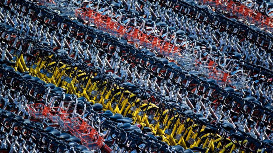 Rows of shared bikes await users in China