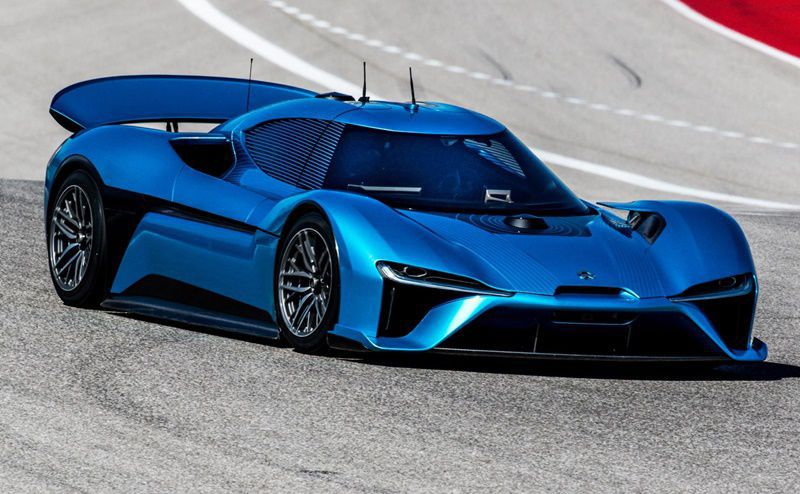 front and side view of NIO EP9 on a race track