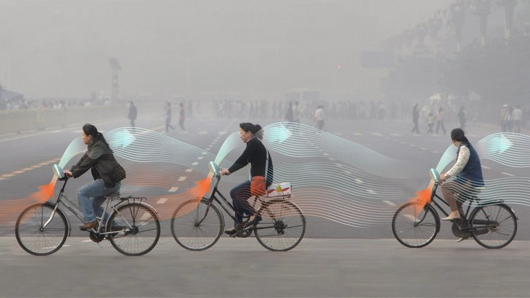 three bikes in china with air waves to show smog-free