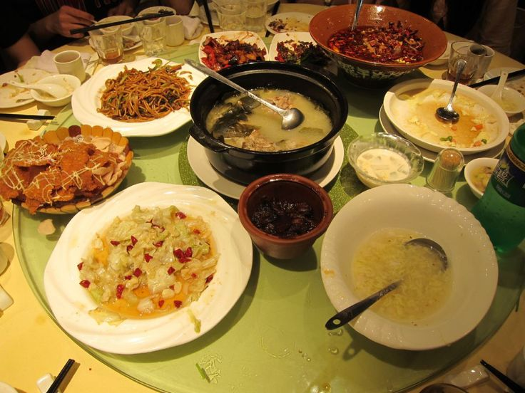 food on a table in china