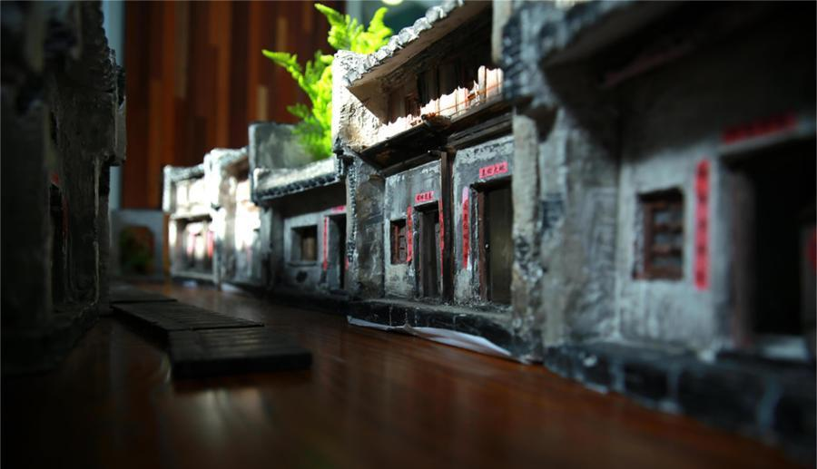 street view of a models constructed from an old town in china