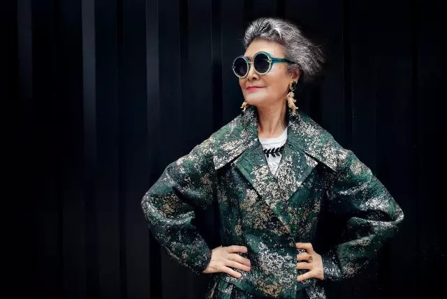 fashion photo with an elderly model in china