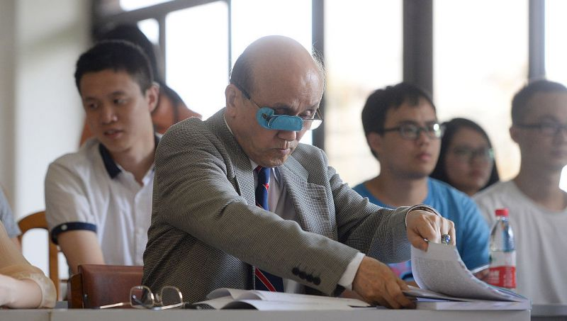 an old student in class in china