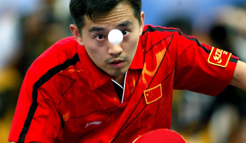 close up of kong linghui during a table tennis match