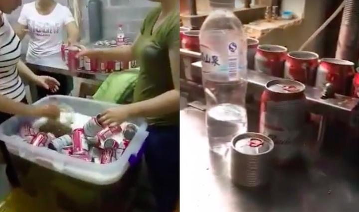 two images from a factory producing fake budweiser in china