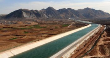a water diversion canal running through china
