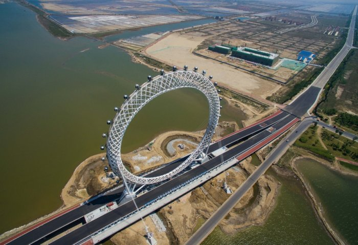 top view of a ferris wheel on a bridge in china