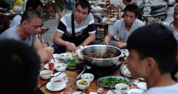 people eating dog meat