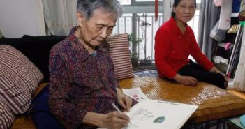 an old lady drawing in china