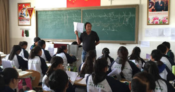 teacher in a classroom with students in china