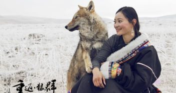 a woman and a wolf