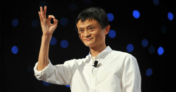 jack ma giving the ok sign on stage