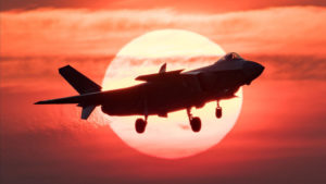 fighter jet in front of sun