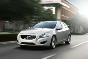 Side on view of Volvo S60 in motion