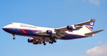 Boring plane with British airways livery in flight