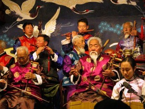 Chinese elderly musicians playing traditional songs in China
