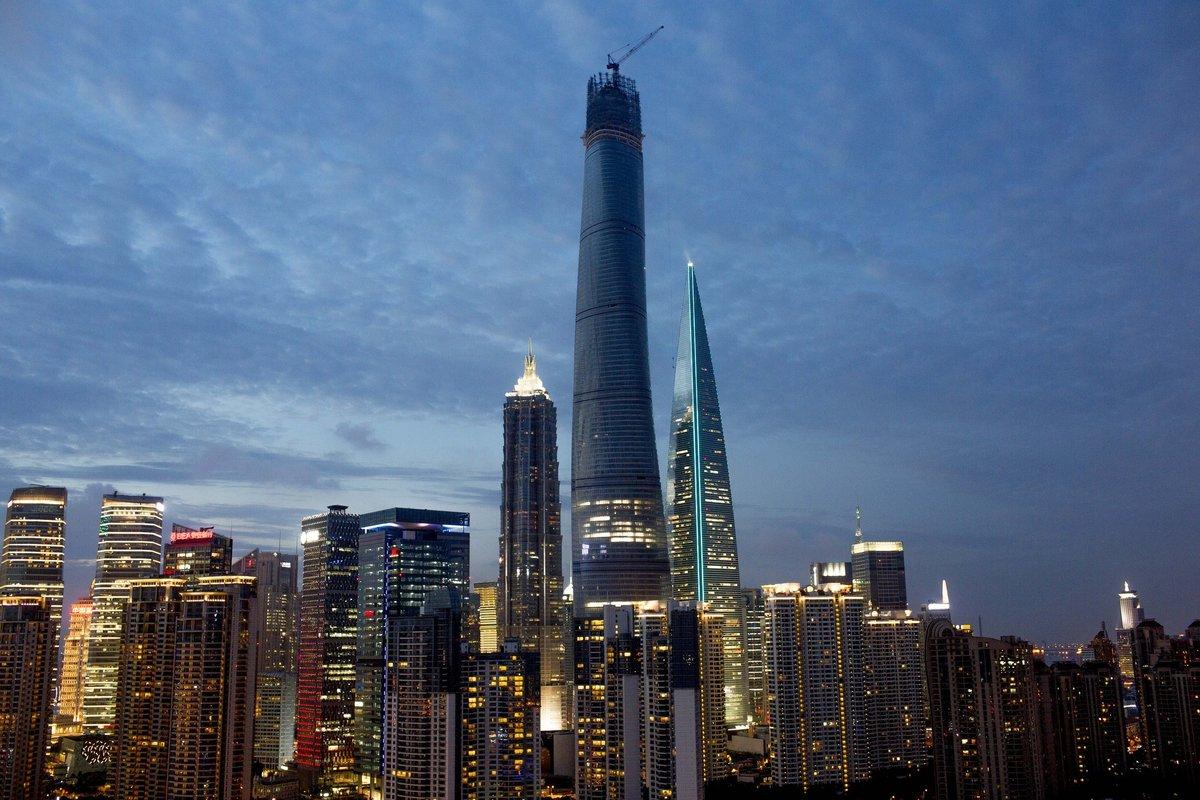 puxi skyline highlighting size of shanghai tower