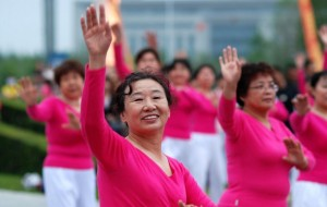 square dancing ladies in china performing outside