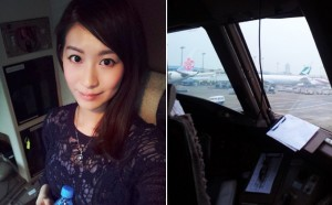Ada Ng in cockpit with picture of plane front window