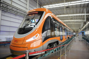 front view china's first hydrogen powered tram