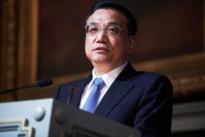 front view li keqiang making speech on podium