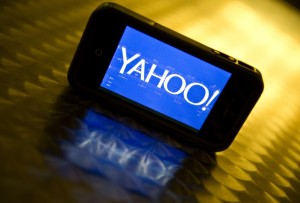 front view phone with yahoo symbol on table