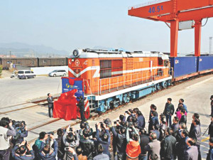 yiwu to spain train towers above spectators