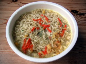 front on view of bowl of fast noodle