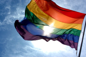 gay rights flag blowing in the wind