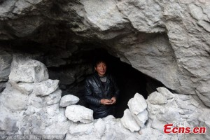front view hebei man living in a cave