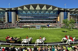 ascot grandstand with horses
