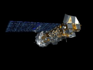 side view satellite in space