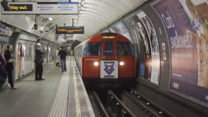 front view train arriving at london underground station