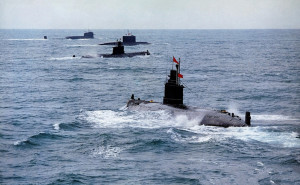 nuclear submarines on exercises in the open water