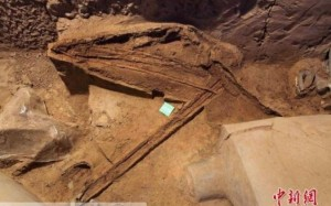 top view ancient crossbow remains excavation site