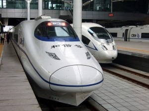 high speed rail trains at the platforms in china