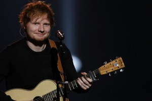 front view ed sheeran with guitar performing live