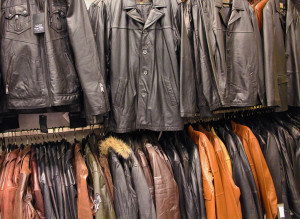 collection of leather jackets in a shop