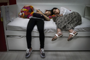 people sleeping on IKEA showroom beds