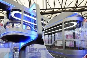 shanghai transparent sky train carriage on display