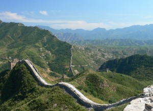 great wall stretching over the hills