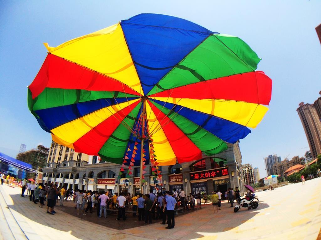 side view of world's largest umbrella in jiangsu