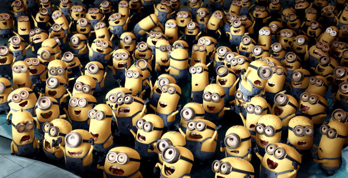 minions in the audience watching a movie