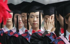 close up of graduating students in a line