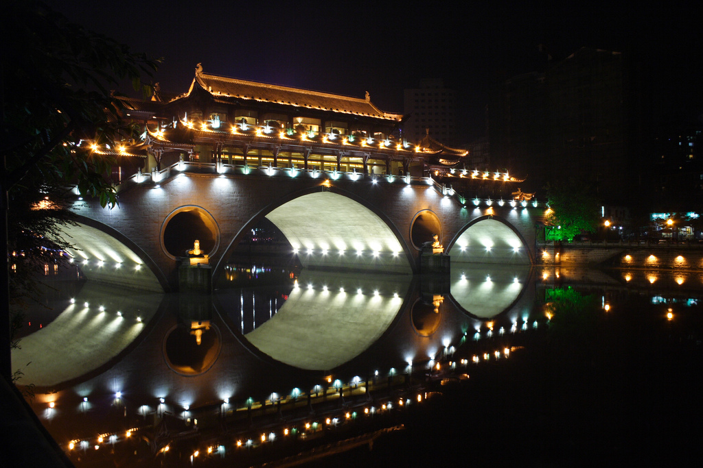 night view of bridge in chengdu
