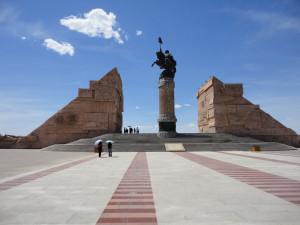 statue of genghis khan in the centre of ordos ghost city