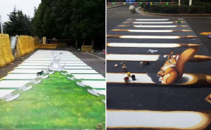 two different styles of 3d zebra crossings in china