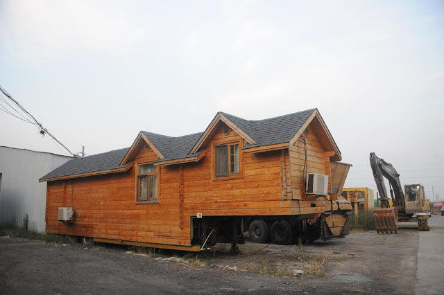 side view of a home made house on wheels